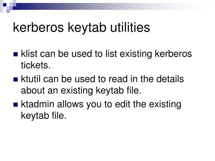 kerberos keytab utilities