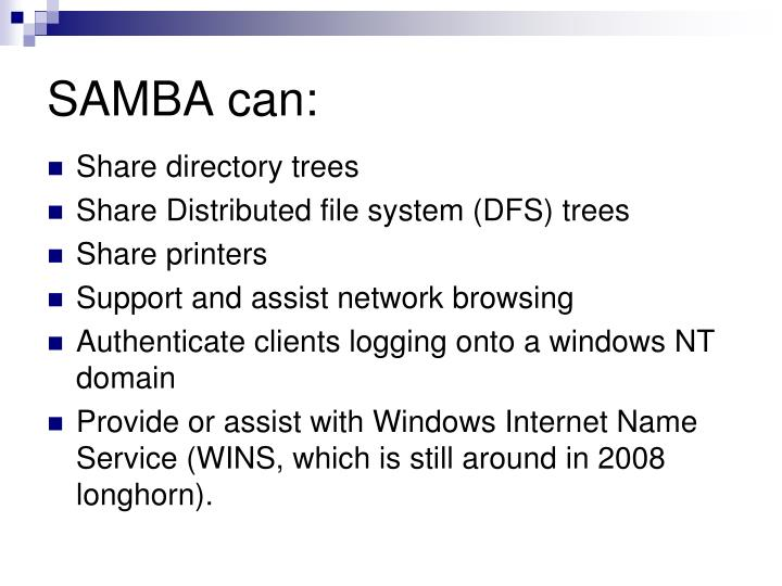 SAMBA can: