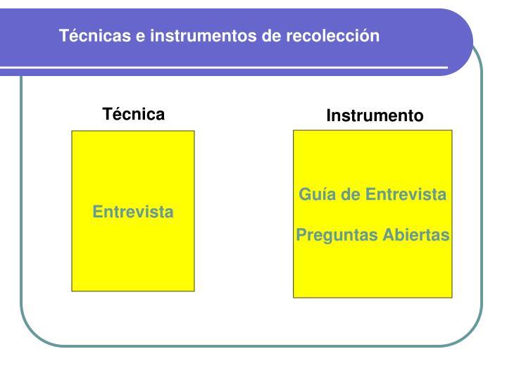 Técnicas e instrumentos de recolección