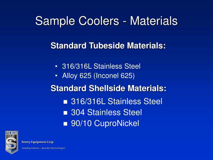 Standard Shellside Materials: