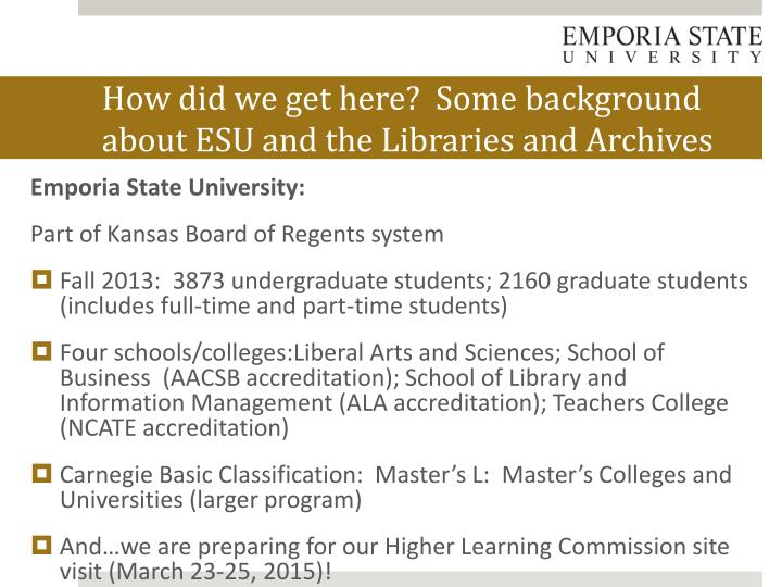 How did we get here some background about esu and the libraries and archives