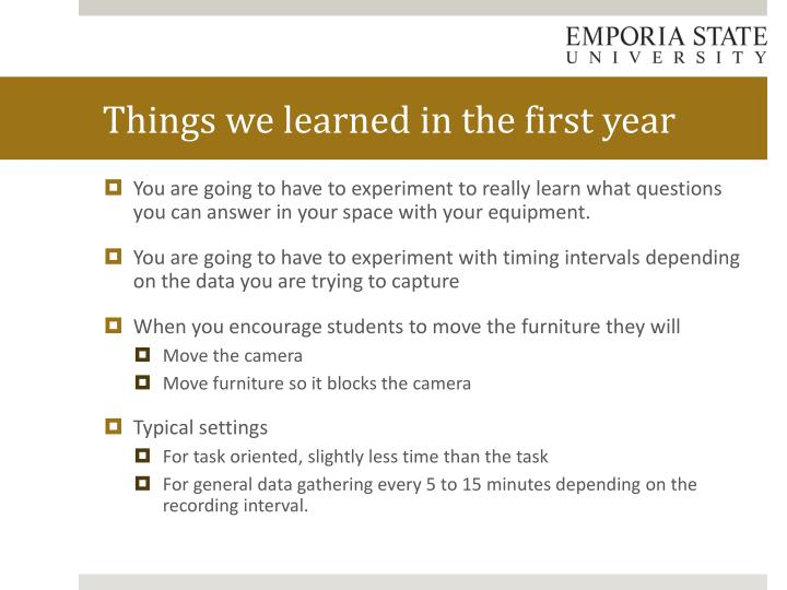 Things we learned in the first year