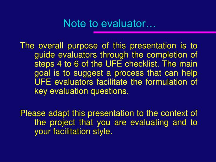 note to evaluator