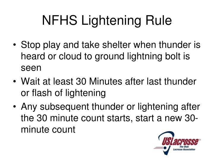 NFHS Lightening Rule