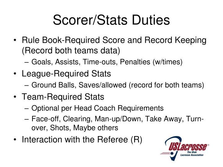 Scorer/Stats Duties