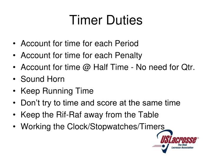 Timer Duties