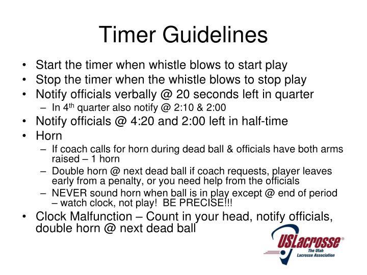 Timer Guidelines