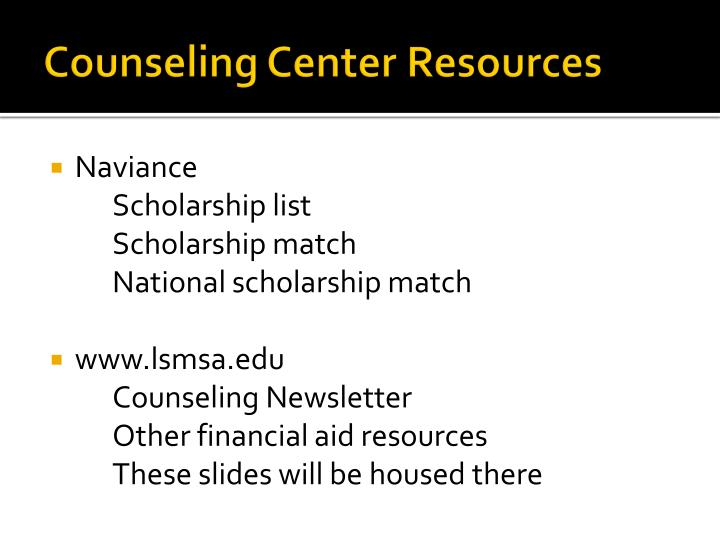Counseling Center Resources