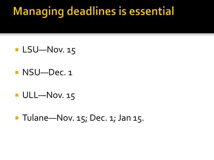 Managing deadlines is essential