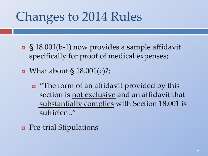 Changes to 2014 Rules