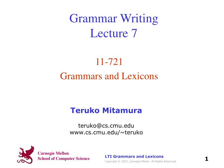 Grammar writing lecture 7