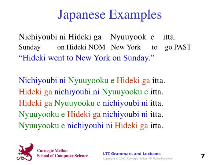 Japanese Examples