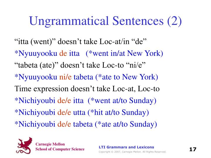 Ungrammatical Sentences (2)