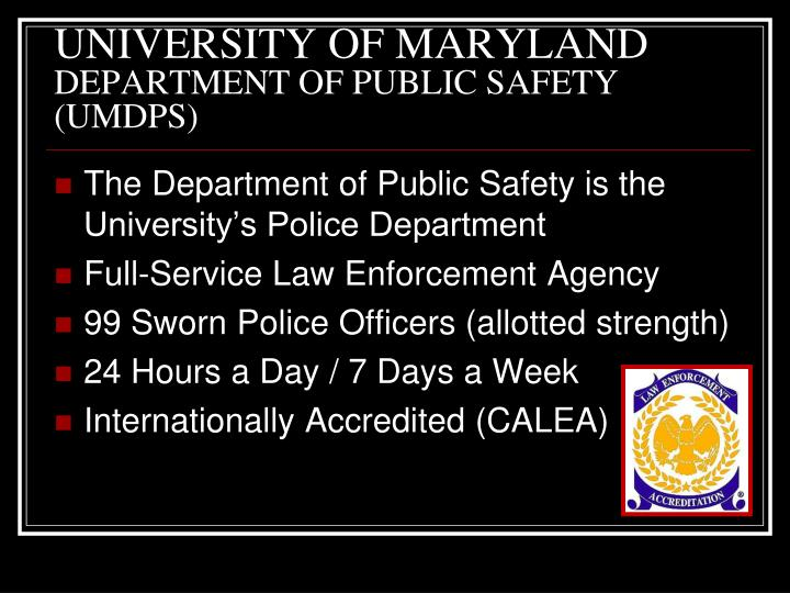 University of maryland department of public safety umdps
