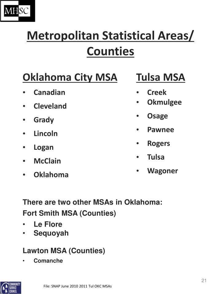 Metropolitan Statistical Areas/ Counties