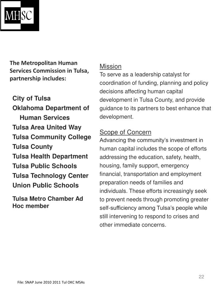 The Metropolitan Human Services Commission in Tulsa, partnership includes: