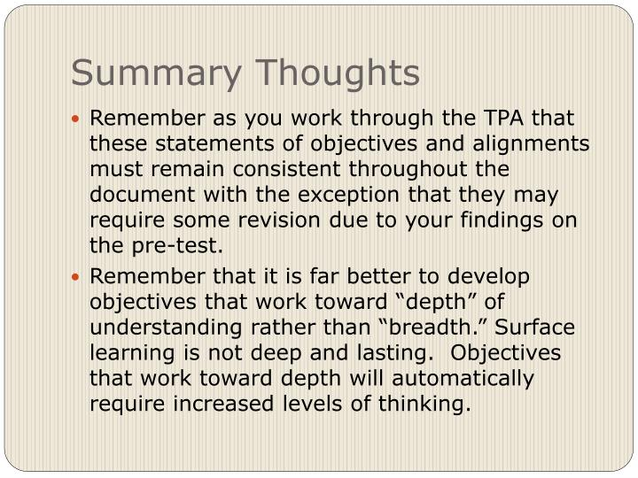 Summary Thoughts