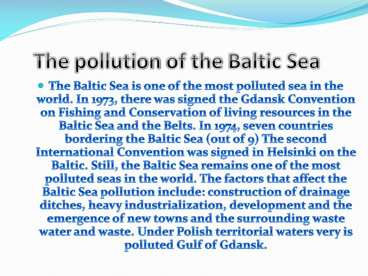 The pollution of the baltic sea