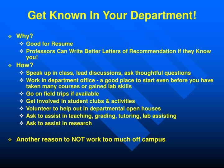 Get Known In Your Department!