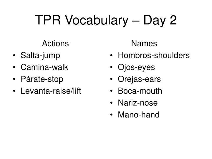 Tpr vocabulary day 2