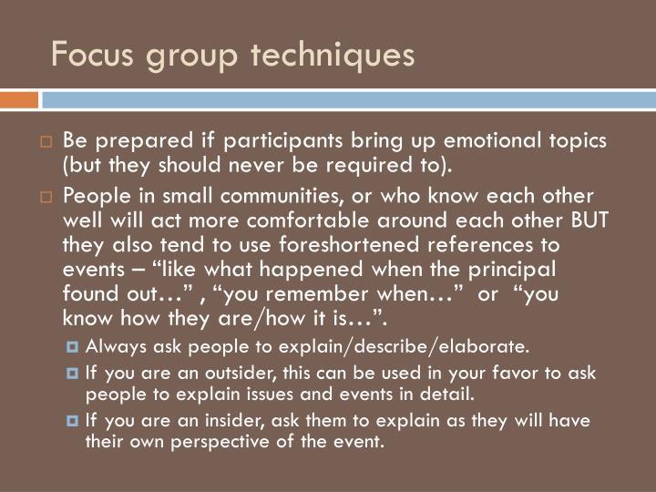 Focus group techniques
