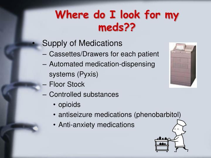 Where do I look for my meds??