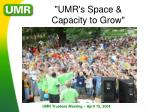 umr s space capacity to grow