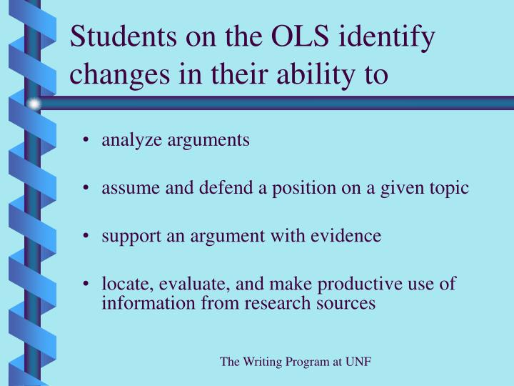 Students on the OLS identify changes in their ability to