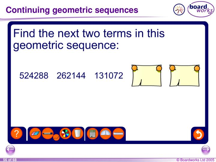 Continuing geometric sequences