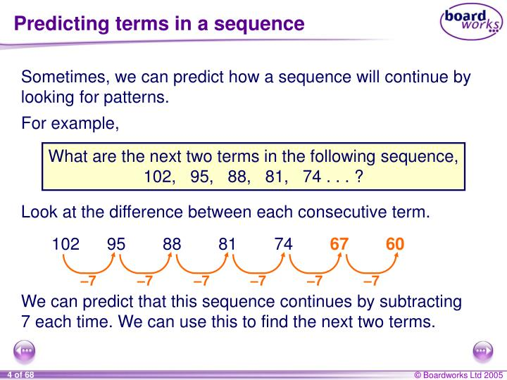 Predicting terms in a sequence