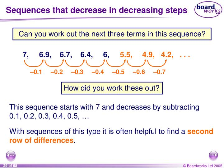 Sequences that decrease in decreasing steps