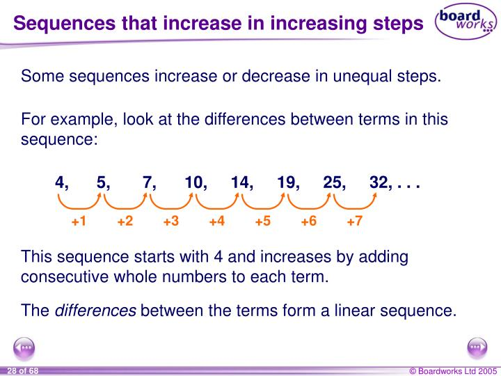 Sequences that increase in increasing steps