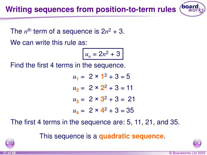 Writing sequences from position-to-term rules