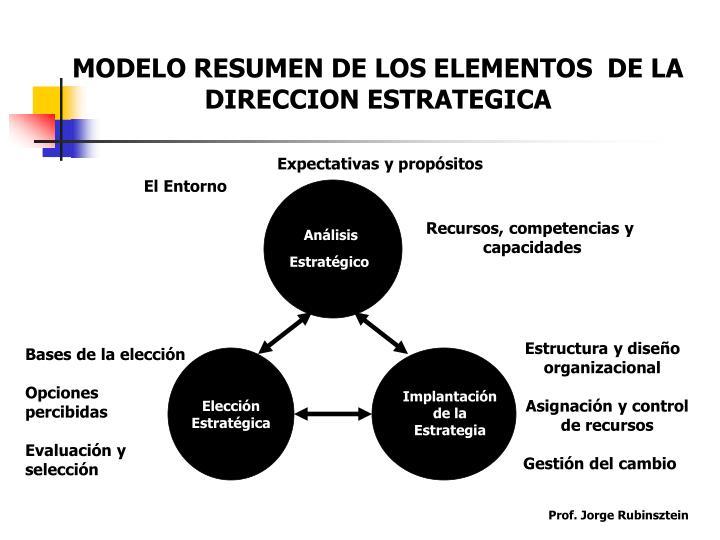 MODELO RESUMEN DE LOS ELEMENTOS  DE LA DIRECCION ESTRATEGICA