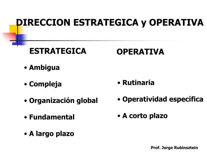 DIRECCION ESTRATEGICA y OPERATIVA