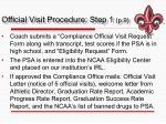 official visit procedure step 1 p 9