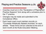 playing and practice seasons p 28