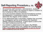 self reporting procedure p 39