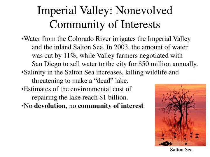 Imperial Valley: Nonevolved Community of Interests