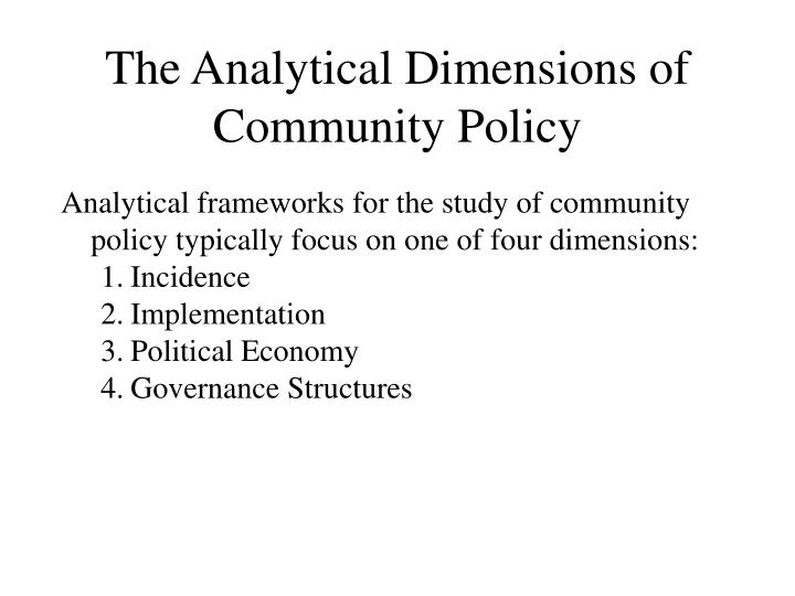 The Analytical Dimensions of Community Policy