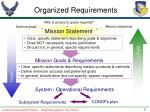 organized requirements