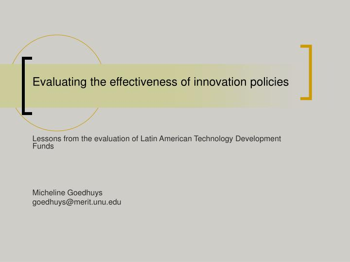 evaluating the effectiveness of innovation policies n.