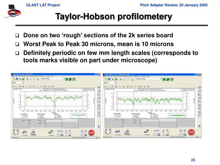 Taylor-Hobson profilometery