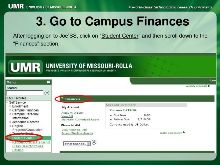 3. Go to Campus Finances
