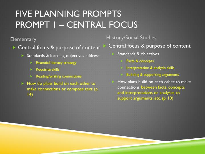 Five Planning Prompts