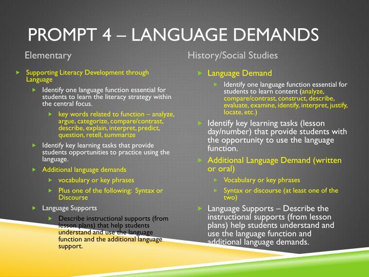 Prompt 4 – Language Demands