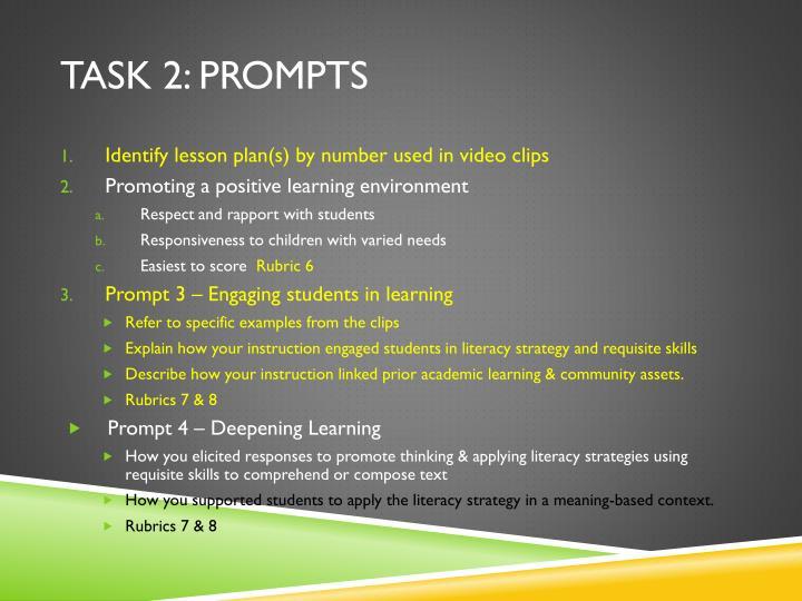 Task 2: prompts