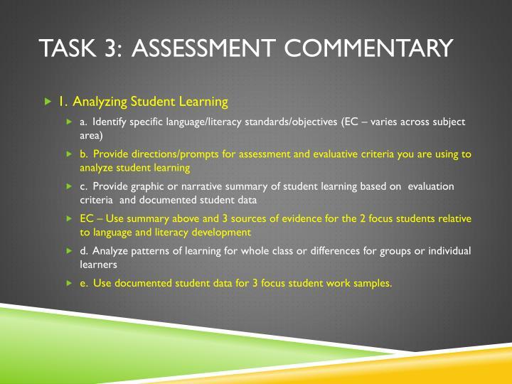 Task 3:  Assessment Commentary