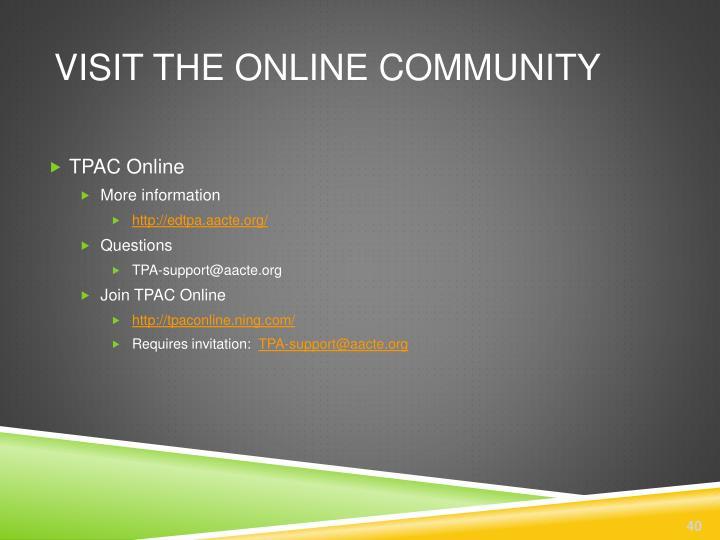 Visit the online community