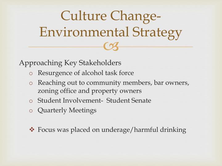 Culture Change- Environmental Strategy
